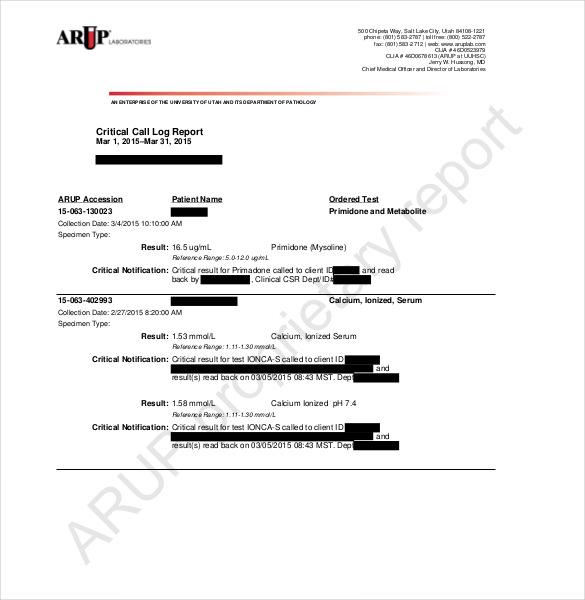 critical call log report