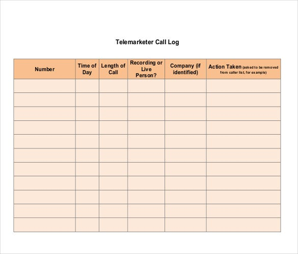 telemarketer call log template