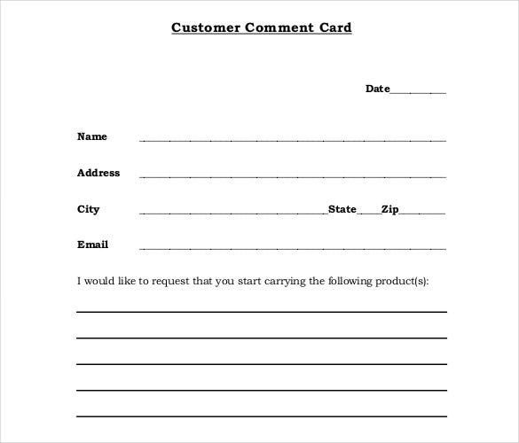 restaurant comment cards templates free