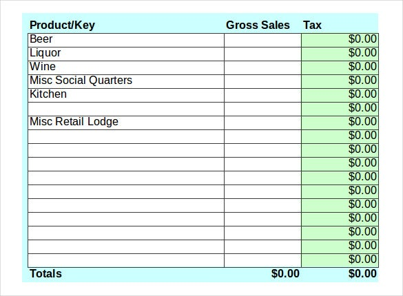 sample bar sales tax calculator inventory template
