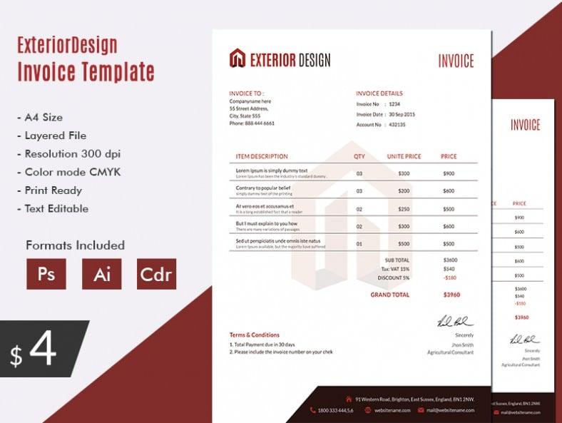 Elegant exterior design invoice template free premium for Exterior design templates