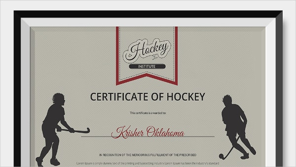 9 Hockey Certificate Templates