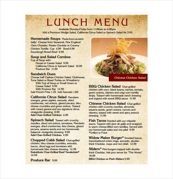 Print Lunch Menu Template Download