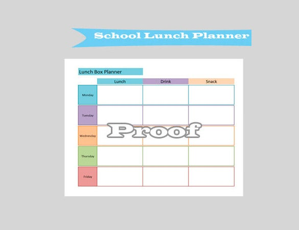 Perfect School Lunch Menu Planner Template Download  Lunch Menu Template Free