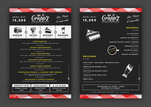 lunch menu for grapps template download