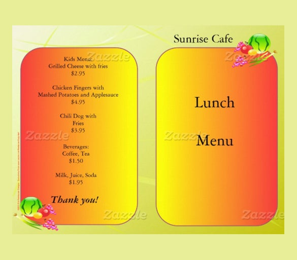 Lunch Menu In Sunrise Design Template Download  Lunch Menu Template Free