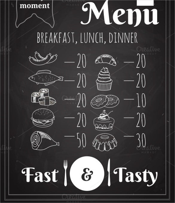 vector lunch menu poster design template download