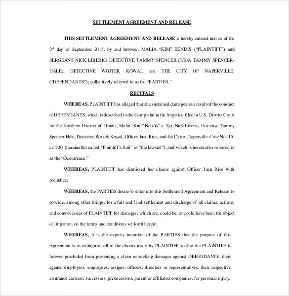 Settlement Agreement Templates  Free Sample Example Format