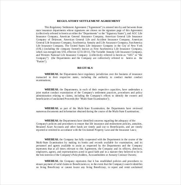12 Settlement Agreement Templates Free Sample Example Format