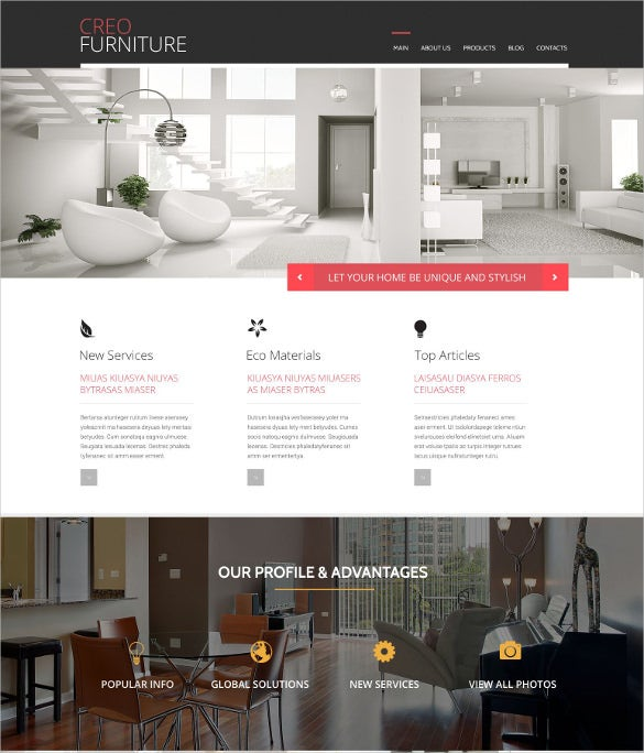 primium furniture psd template