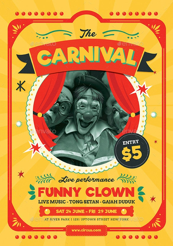retro carnival flyer template