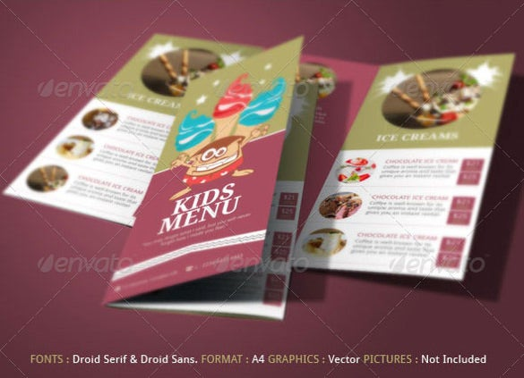 kids menu template download