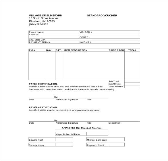 Blank Voucher Template Voucher Templates – Sample Payment Voucher Template