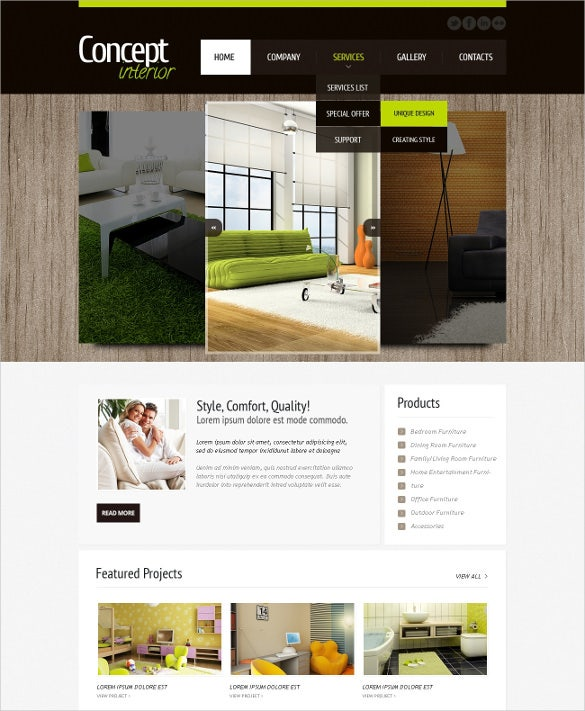 interior design furniture psd template