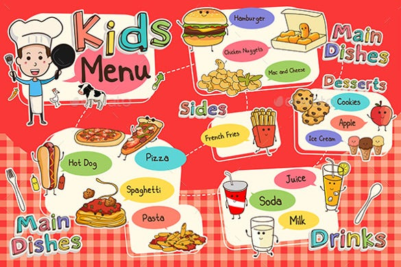 Attractive Sample Kids Meal Menu Template