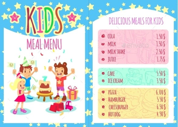 use our example kids menu template for creating a menu that will actually be liked by the kids it has multiple colors to make it attractive to their age - Free Templates For Kids