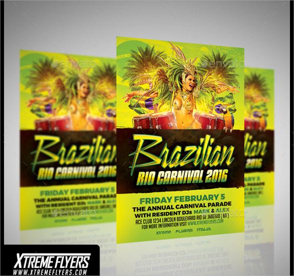 rio carnival flyer template