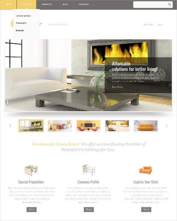 21 furniture psd themes templates free premium for Furniture templates for room design