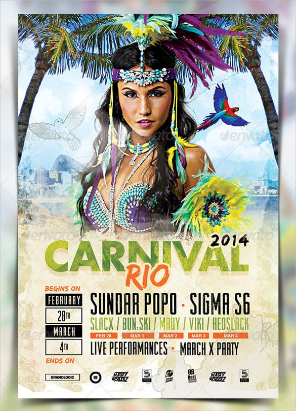 island carnival flyer template
