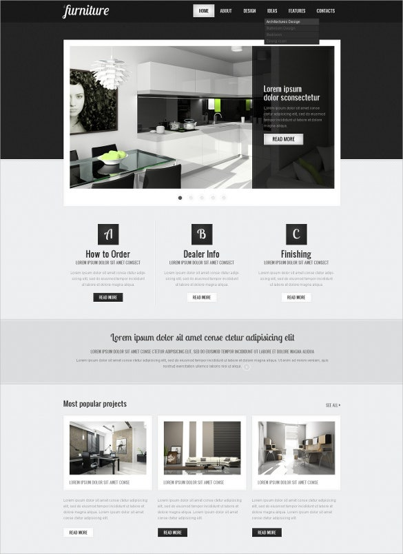 luxury villa furniture psd template