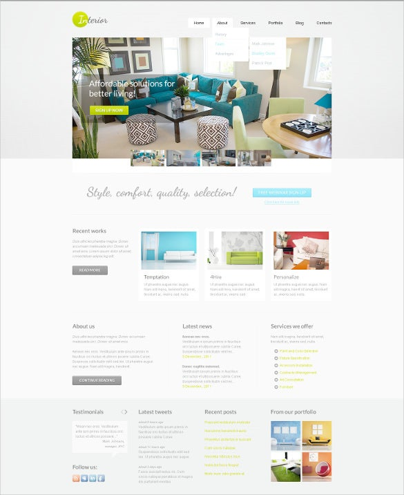 interior furniture psd template