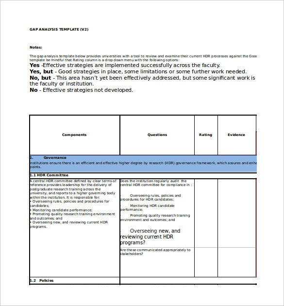 Gap Analysis Tools  Template   Free Word Pdf Document