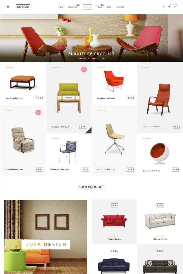 furniture store psd template