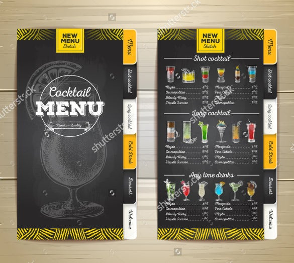 Cocktail Menu Templates   Free Psd Eps Documents Download