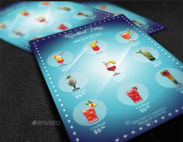 cocktail menu psd format template download