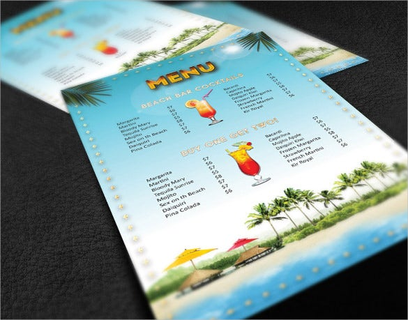 cocktail menu on black background template download