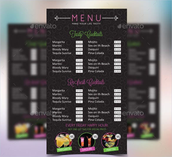 cocktail menu vector eps ai illustrator template download