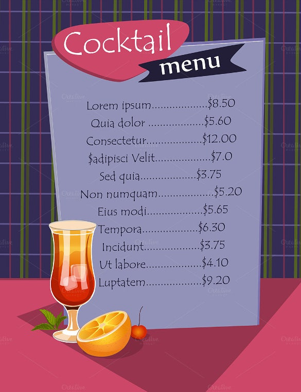 cocktail menu template sample download