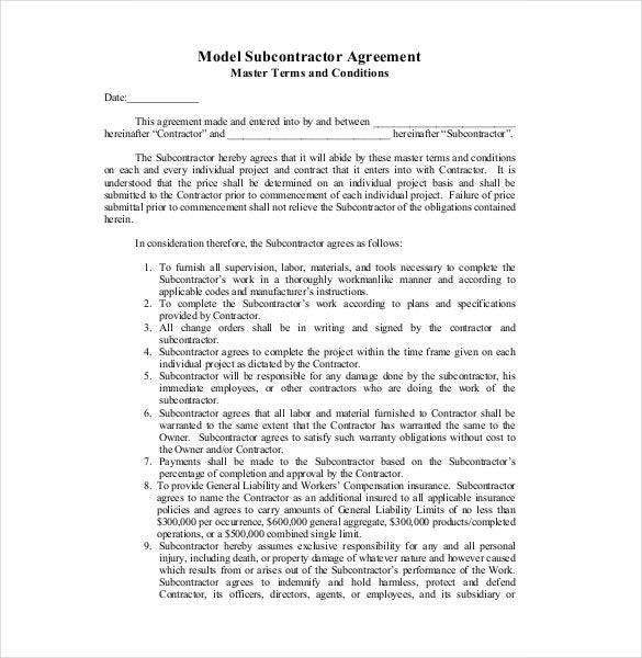 sample model subcontract agreement