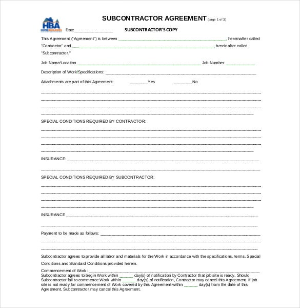 example subcontract agreement template