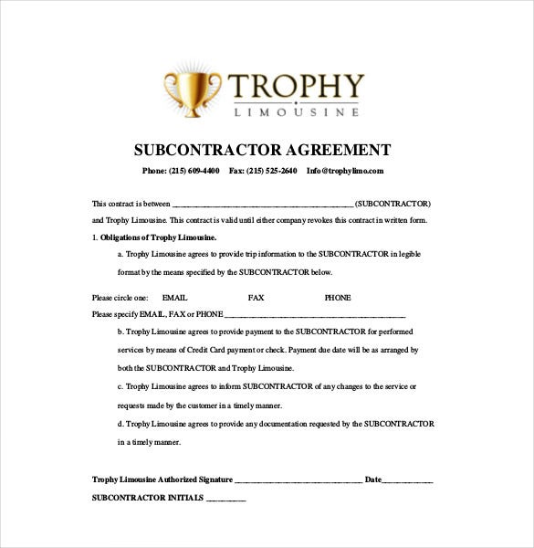 Subcontractor Agreement Templates  Free Sample Example Format