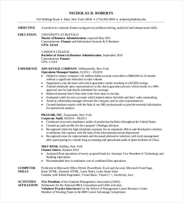 Delightful Free MBA Resume Template Download  Mba Application Resume Sample