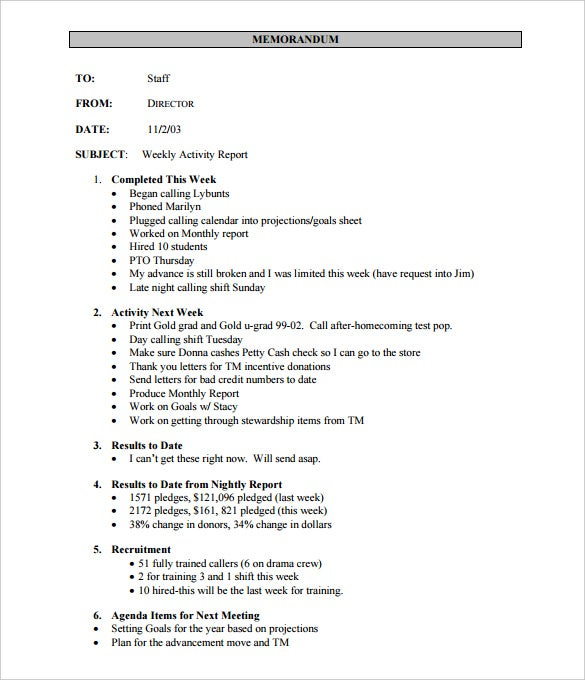 cmu weekly activity report template pdf printable
