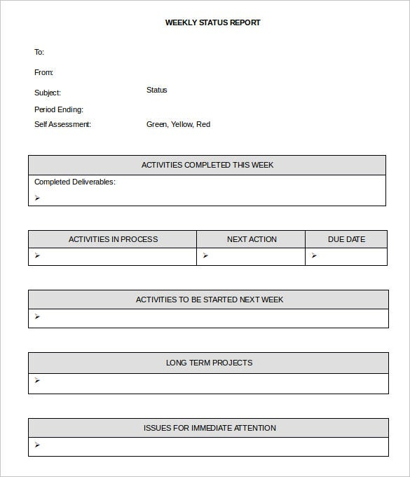 Sample Weekly Report Template Weekly Activity Report Template