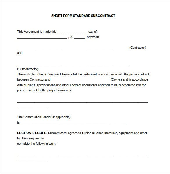 Subcontractor Agreement Templates  Free Sample Example