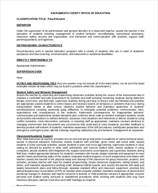 special education paraprofessional resume sle