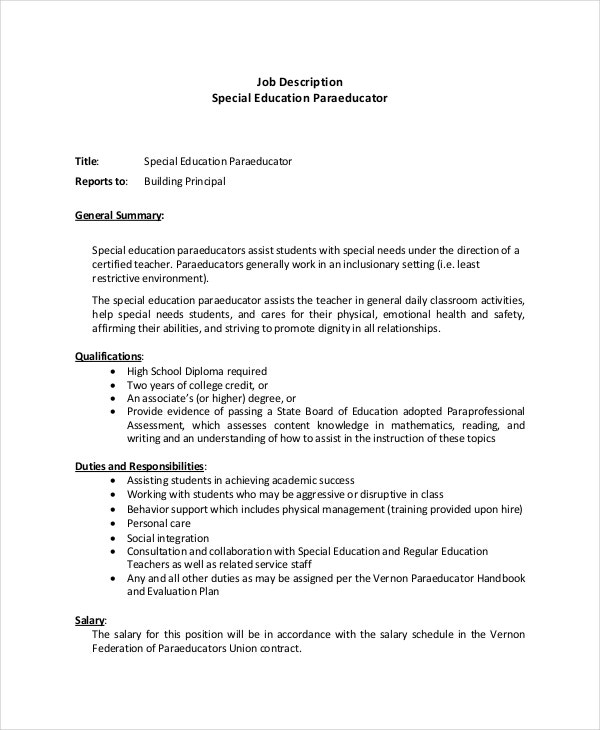 Paraeducator Resume Template   Free Word Pdf Documents
