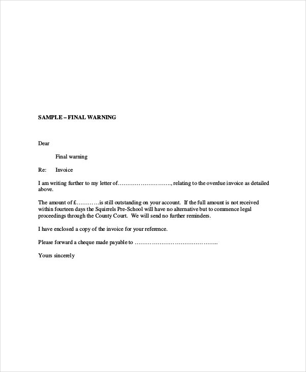 Overdue Invoice Letter Free Word PDF Documents Download - Past due invoice template