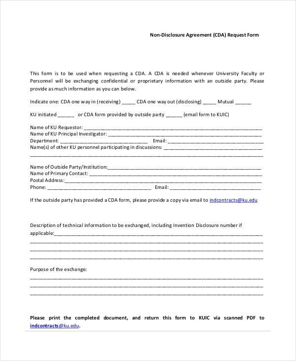 Blank Non Disclosure Agreement Request Form  Free Printable Non Disclosure Agreement