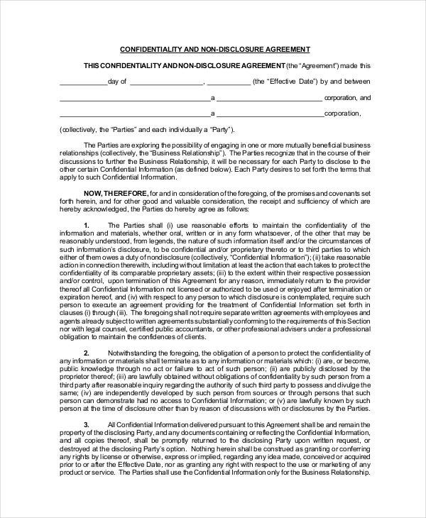 non-disclosure-confidentiality-agreement