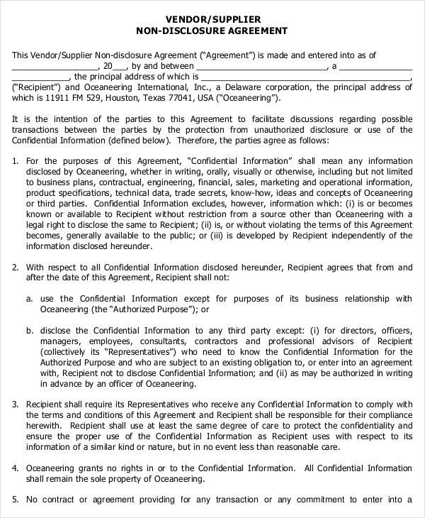 Nice Standard Vendor Non Disclosure Agreement Form PDF