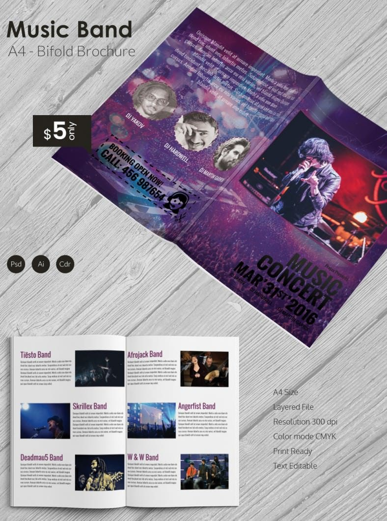 Excellent music band a4 bi fold brochure template free for Music brochure templates