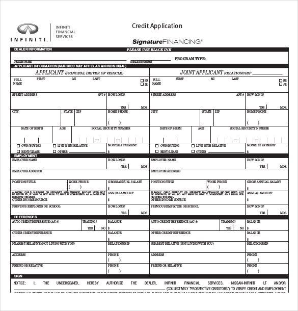 Auto Credit Application Form PDF Format Free Download