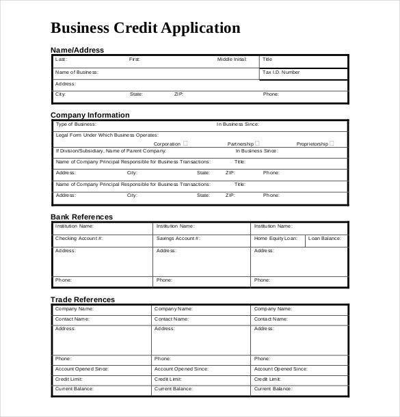 Exceptional Business Credit Application Form Download Design Ideas