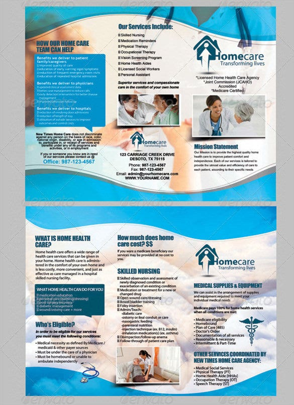 Medical Brochure Templates Free PSD AI Vector EPS - Home care brochure template