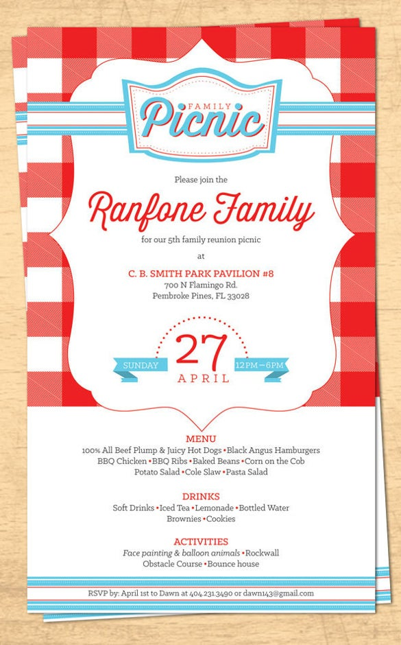 4th of july menu template - 32 family reunion invitation templates free psd vector